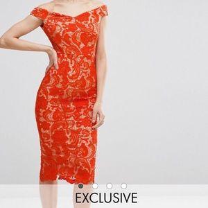 Never worn, lace, off-the-shoulder pencil dress.